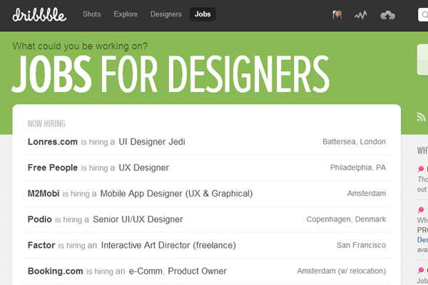 dribbble job board website design layout