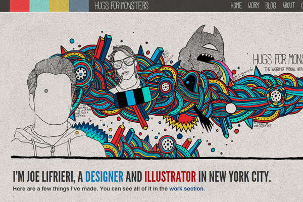 hugs for monsters illustration website layout