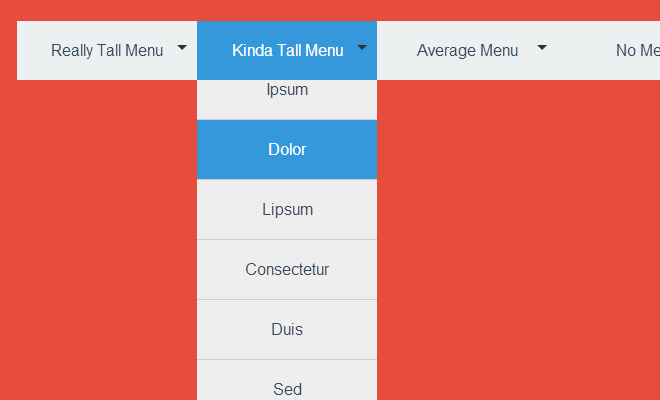 long scrolling drop down menu css effect