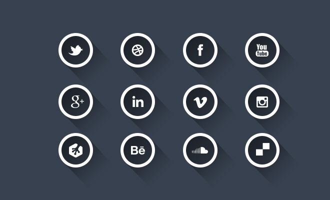 long shadow social media icon set