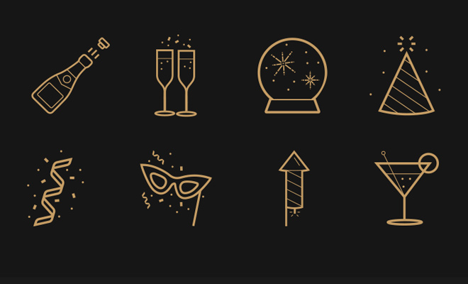 new years even party icons freebie