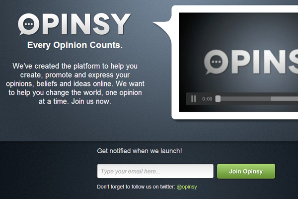 Opinsy webapp layout design
