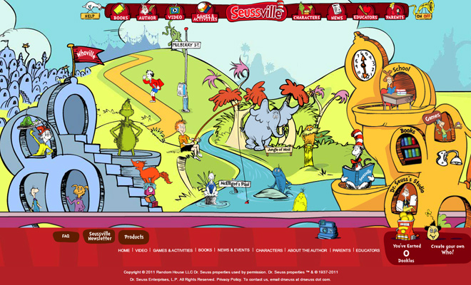 dr seuss seussville flash website