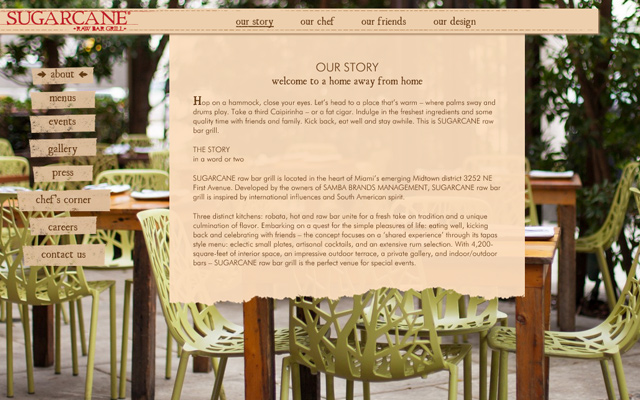 sugar cane bar grill website layout homepage
