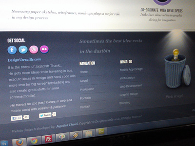 clean footer web design layout