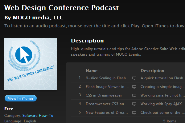 webdesign itunes conference podcast shows