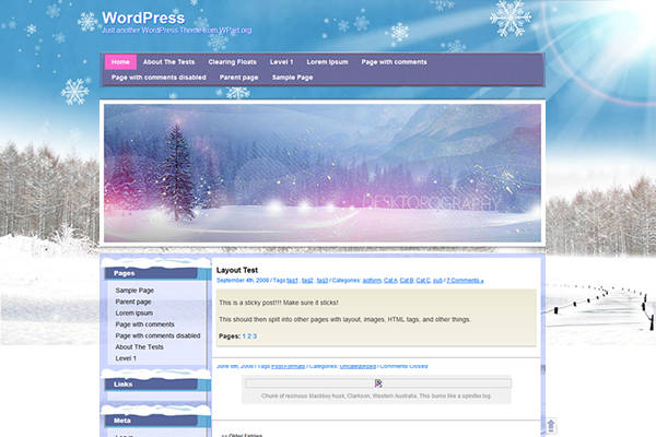 wordpress winter theme design free layout
