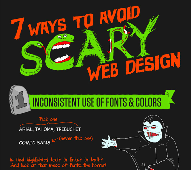 avoiding scary web design horror infographic