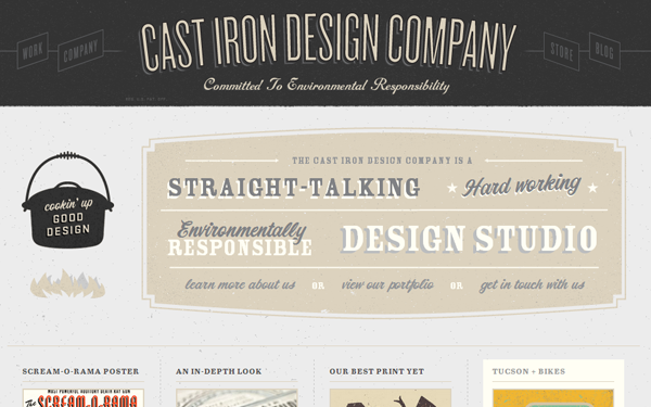 Cast Iron website portfolio layout design