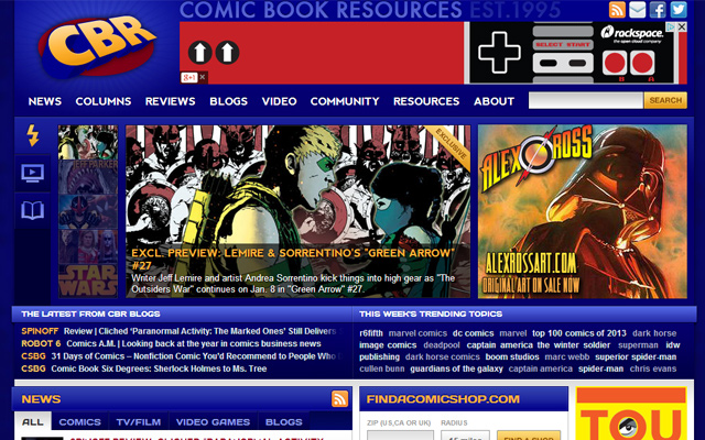 comic book resources homepage layout