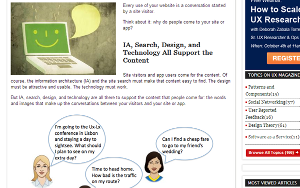 website content as user experience