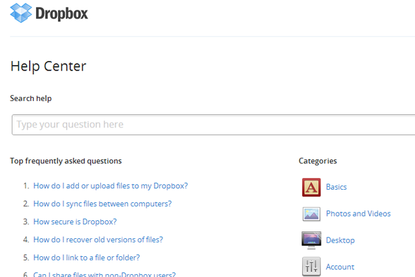 Dropbox help support help faq questions