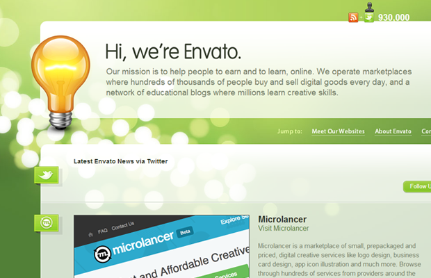 green envato website layout portfolio