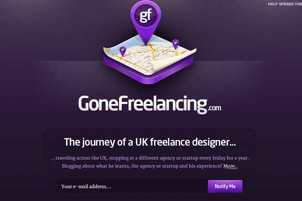 purple website landing page webapp Gone Freelancing