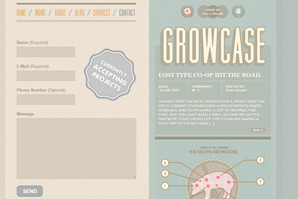 growcase website contacts inspiring webform