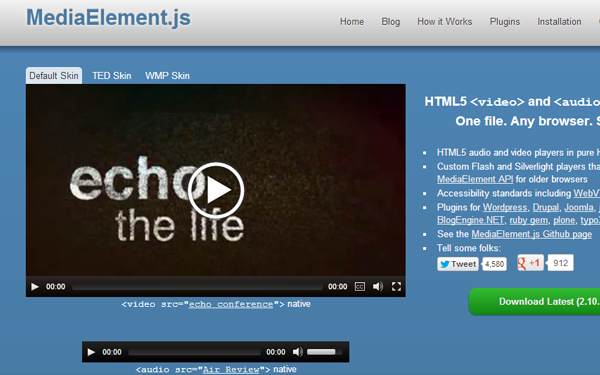 media element javascript library open source