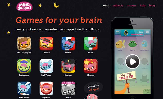 mindsnacks ios app iphone landing page
