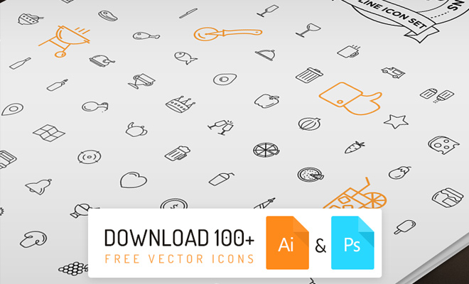 freebie thin line icons food vector