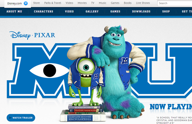 disney pixar monsters university website layout