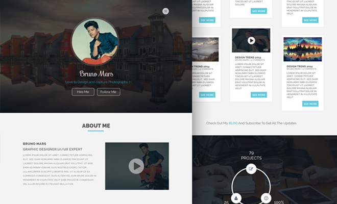 personal portfolio website freebie psd