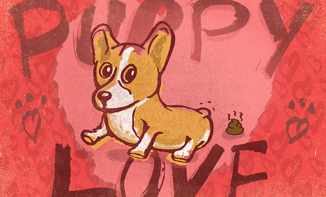 puppy love valentines graphic design