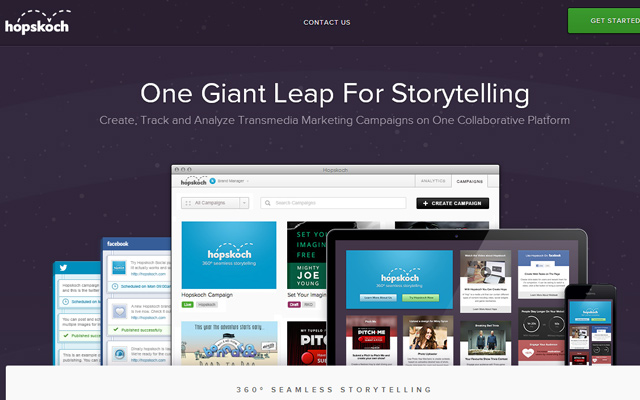 single dark purple layout website hopskoch storytelling
