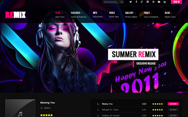 remix band musician template html5 design