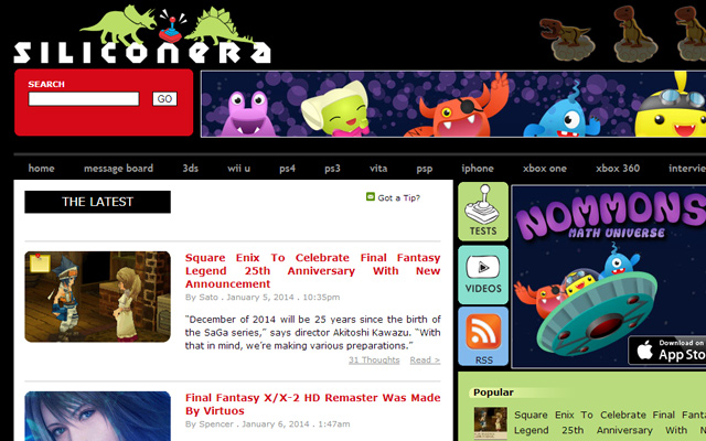 siliconera website layout inspiring video game blog news