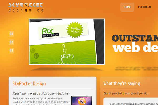 SkyRocket website design portfolio studio