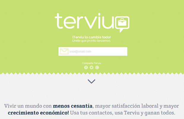 Terivu green website landing homepage