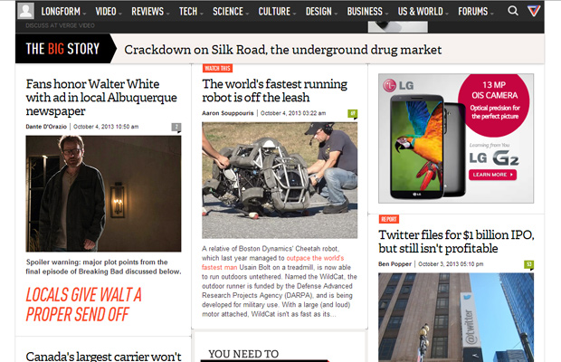 the verge magazine homepage website layout 3col