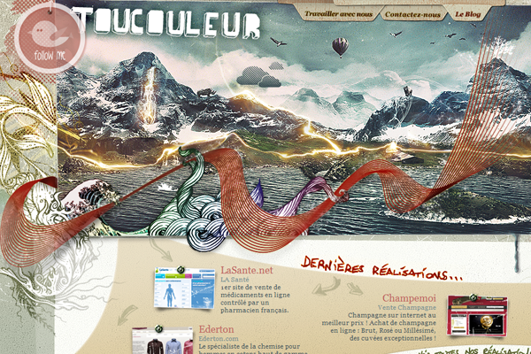 Toucouleur website watercolor layout design