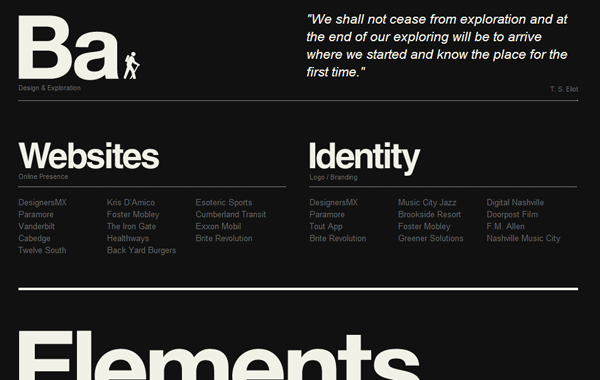 dark black background website typography