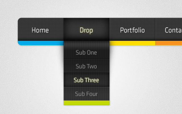 psd colored dropdown navigation menu