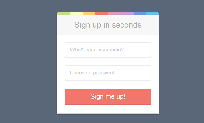 rainbow signup form css3 open source