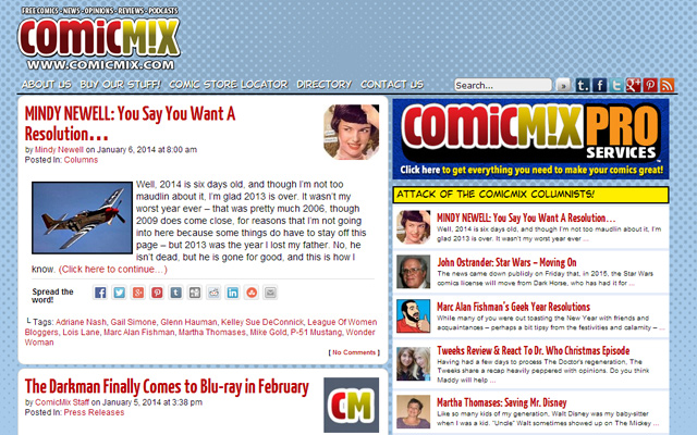 comic mix 2014 website design culture influence