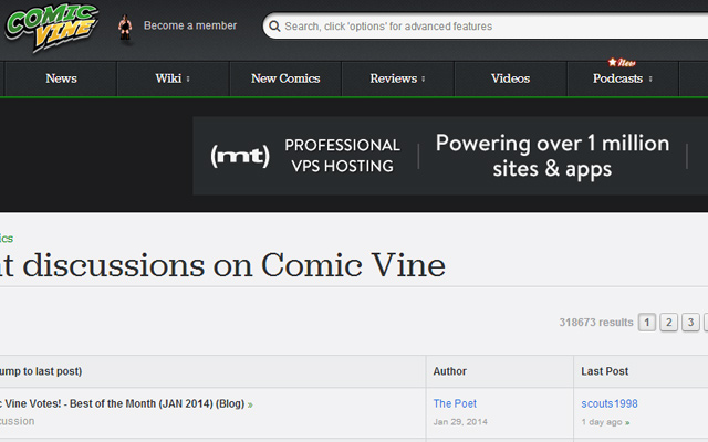 comic vine forums websites design