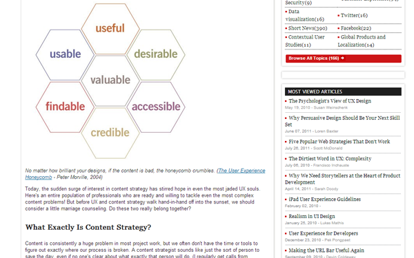user experience design with content