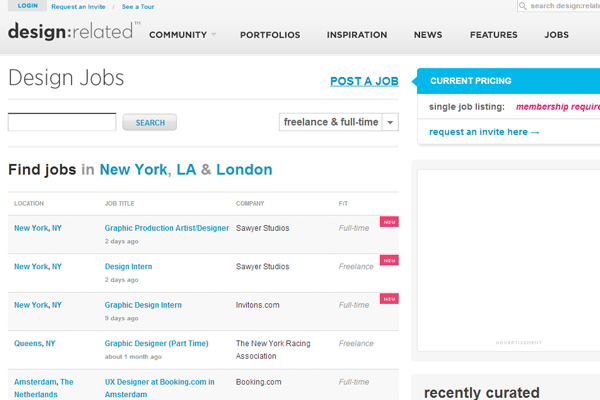 design related jobs board website