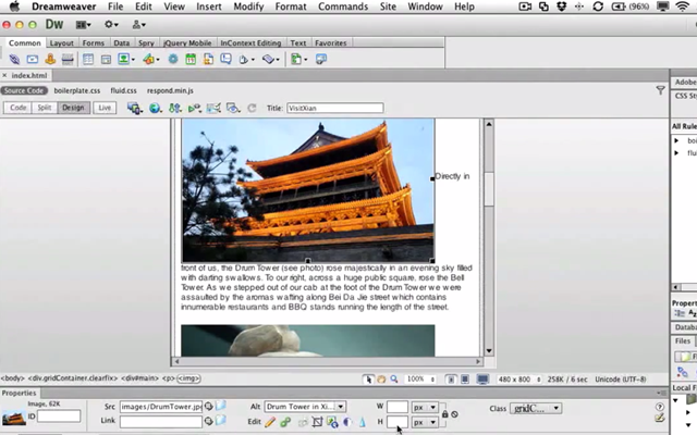 working creating fluid images dreamweaver tutorial