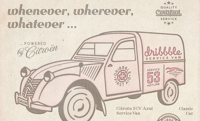 dribbble van advertisement print