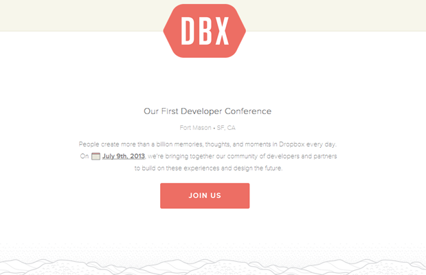 dropbox conference website layout landing webpage