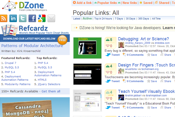 popular development news dzone frontpage website