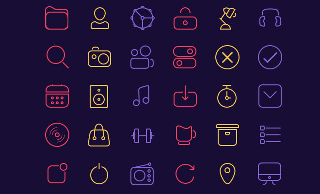30 freebie line icons sketch