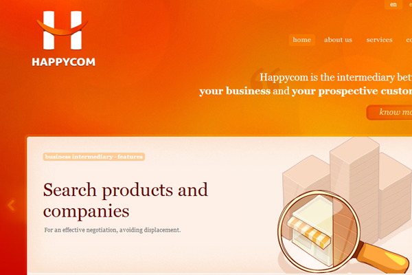 orange website layout happycom portfolio agency