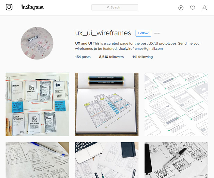 instagram sketching page
