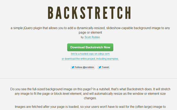 jquery fullscreen background images plugin backstretch