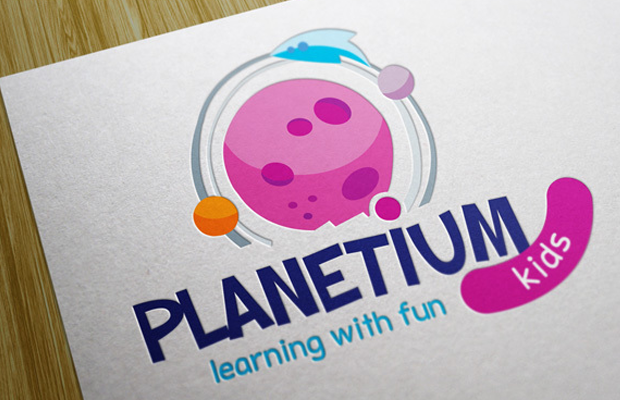 children branding logo planet planetium