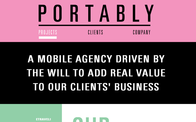portably pink dark website layout homepage