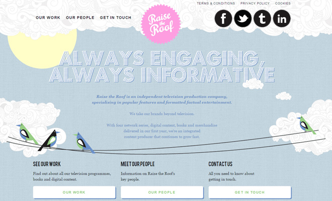 raise the roof website layout design